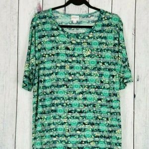 Lularoe Irma Top Floral High Low Tunic Green